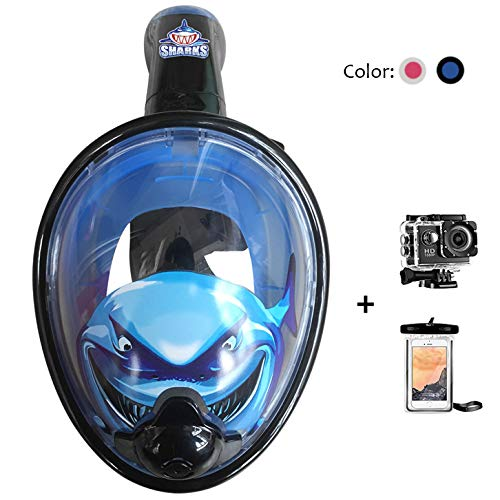 180° Panoramic Sea View Full Face Snorkel Mask Anti-Fog Anti-Leak with Action Camera and Mount/Earplugs/Waterproof Phone Case/Mesh Bag for Men Women Kids,Blue-Child ()