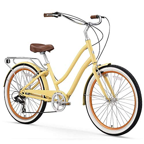 sixthreezero EVRYjourney Women's 7-Speed Step-Through Hybrid Alloy Cruiser Bicycle, Cream w/Brown Seat/Grips, 26 Wheels/ 17.5 Frame