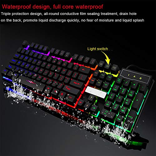( 7 Colors Keyboard, Colorful Crack LED Illuminated Backlit USB Wired PC Rainbow Gaming Keyboard by Little Story (Black))