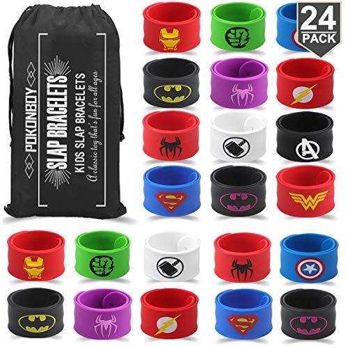 POKONBOY Superhero Slap Bracelets for Kids Party favors - 24 Pack Slap Bracelets for Boys Girls Kids Super Hero Birthday Party Favors Supplies Carnival Prizes