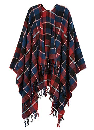Womens Acrylic Pashmina Grid Fashion Poncho Cardigan Multicoloured