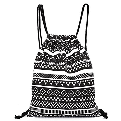 Backpack Black Fashion Longra Women Bags Retro Unisex Backpacks Printing Geometric Drawstring qwa4fwgx
