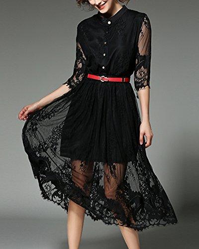 Vestidos Largos de Fiesta Mujer Vestido de Encaje Elegantes Vestido de Noche Negro