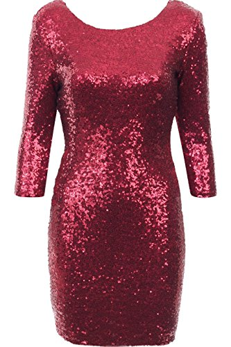 Damen 3/4 Hülse Paillette Partei figurbetontes Kleid EUR Größe 3642 ...
