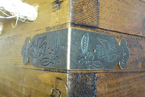 Celtic Woods Set Of 4 Vintage Antique Brass Metal Box Corners Braces Straps Angle Plate C085 by Celtic Woods