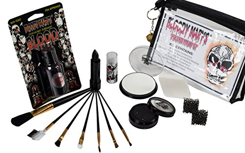 Scary Skeleton Makeup Kit By Bloody Mary - Halloween Costume Professional Special Effects Face Makeup Supplies - FX Foundation, Black Blood Lipstick, Eye Shadow, Crayons, Brushes, Blood, Sponge & Case -