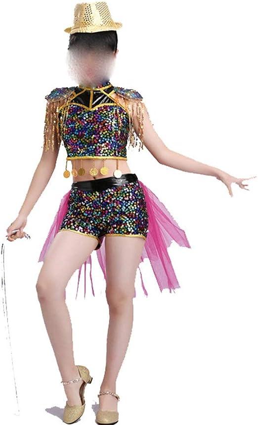 Amazon Com Zhao Li Costumes Jazz Costume Dance Sequins Children Modern Dance Fashion Hip Hop Dancing Unifom Color Black Size 140cm Home Kitchen