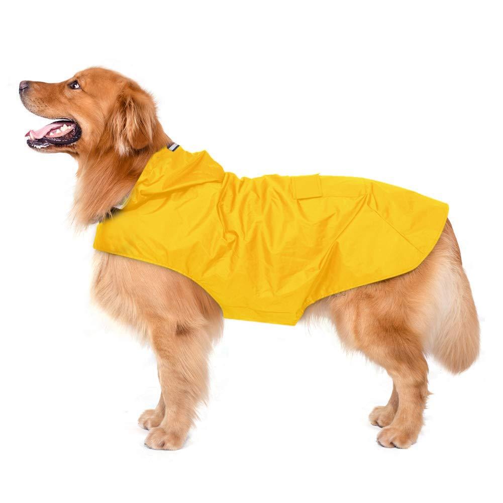 4XL Waterproof Ultra-Light Breathable Rainwear Rain Jacket with Safe Reflective Strips Ultra-Light Breathable 100% Waterproof Rain Jacket by for Medium Large Breed Dog,4XL
