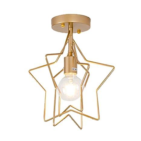Lampara del Techo Estrella/Redondo Hierro, Iluminación colgante Moderna,Luz de techo,Lámparas E27 de diamante para Casa, Habitacion, Dormitorio (Oro, ...