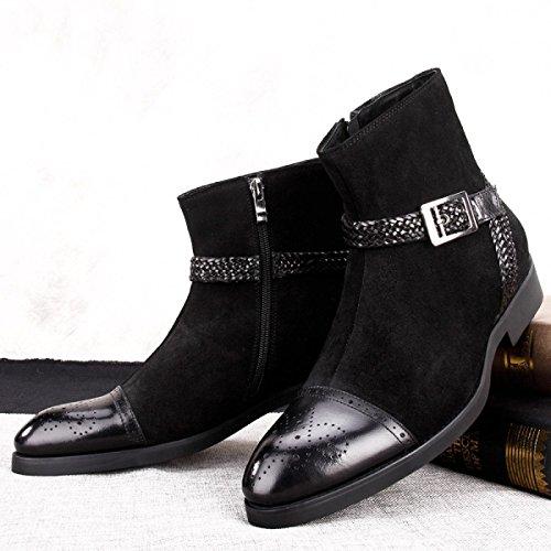 GRRONG Chaussures De Bœuf D'hiver Pour Hommes Bottes Sculptées à La Main Black 5qvw51