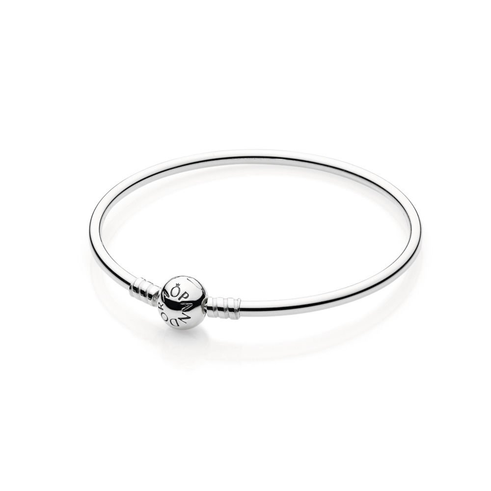 PANDORA Sterling Silver Bangle with Bead Clasp 590713-19, 7.5'' (19cm)