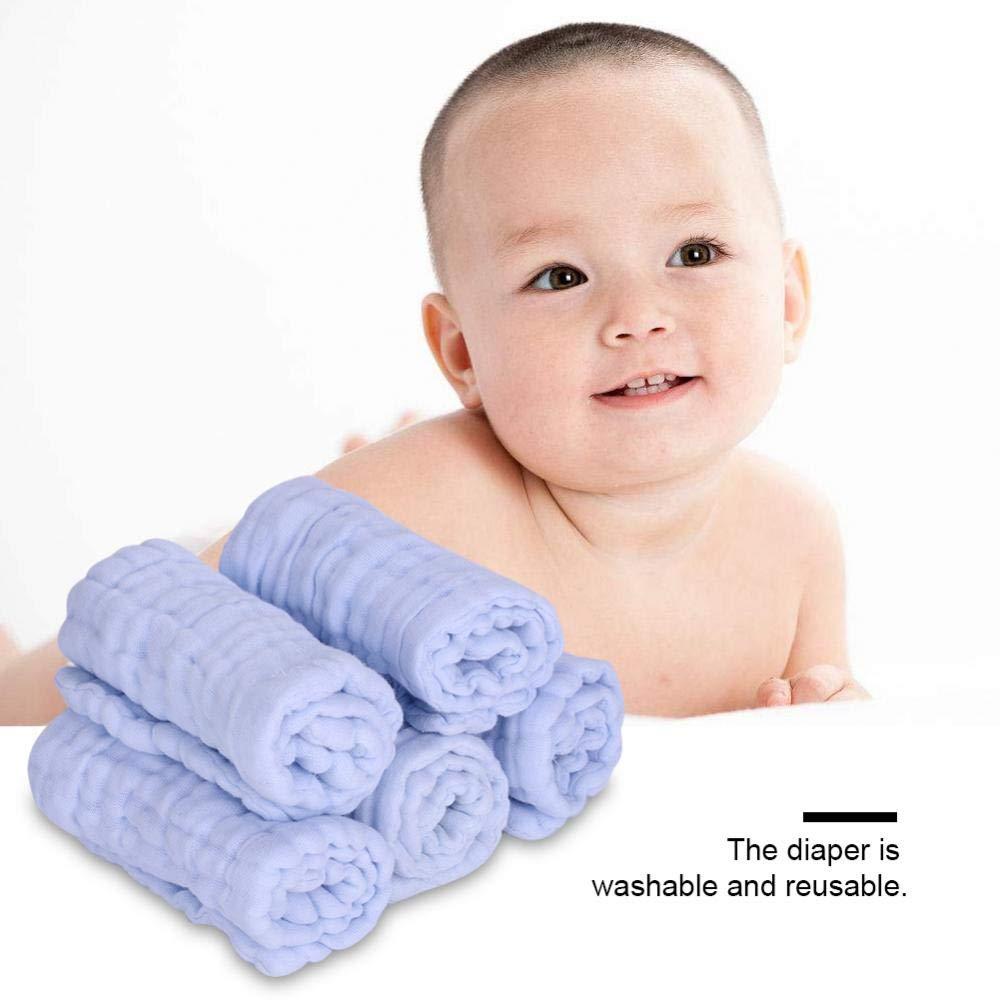 Wei/ß Babywindel Windel 5 St/ück Weiche Baumwolle Gaze Wiederverwendbare Windeln Multifunktions Wasseraufnahme Handtuch L/ätzchen Atmungsaktive Serviette f/ür Neugeborene Kinder