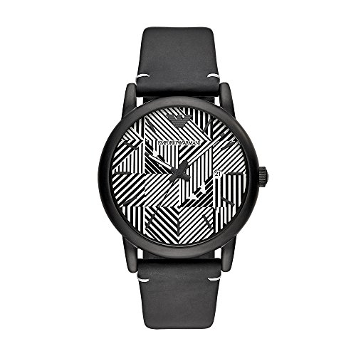 Emporio Armani Men's Quartz Stainless Steel and Leather Casual Watch, Color:Black (Model: AR11136)