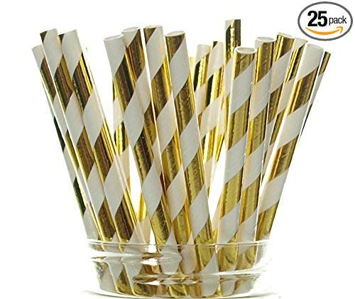 Gold Stripped Party Straws (25 Pack) BABAY SHOWER, Striped Christmas Straws, Tinsel Paper Straws for 50th Golden Anniversary, Holiday Party Supplies, Gold Wedding Decorations (Gold Stripes) ()