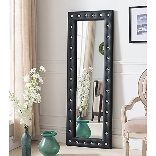Full Length Mirror With Faux Leather Tufted Crystal Buttons Frame, Leaning Floor Modern Mirror - 63'' x 22'' (Black)