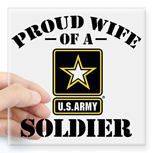 (CafePress Proud U.S. Army Wife Square Sticker 3
