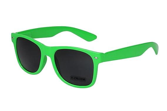 X-CRUZE® 8-012 - Lunettes de soleil unisexe, femmes, hommes - Style Nerd, Rétro, Vintage - Vert clair.