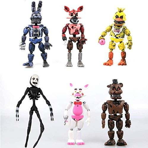Set of 6 pcs | in Stock US| Set Freddy's Five Nights PVC - Inspired Action Figure 17cm Bonnie Foxy Freddy Toys 5 Fazbear Bear Doll Baby Toys FNAF Action Figures Toy Set - Gifts for Kid (A1 Set(6pcs))