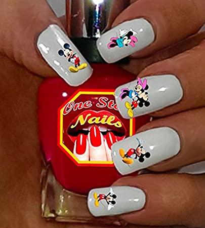 Disney Mickey and Minnie Mouse water-slide nail art decals by One Stop Nails . - Amazon.com: Disney Mickey And Minnie Mouse Water-slide Nail Art