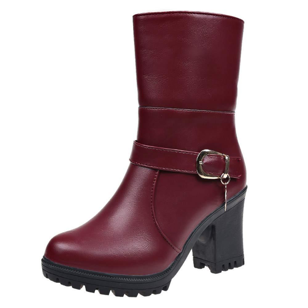 ZHRUI Schuhe Damen Stiefel Freizeitschuhe Winterstiefel Stiefeletten Kurze Stiefel Mode Frauen Leder Round Toe High Heel Schuhe Falten Stiefelies Warm Cotton Stiefel (Farbe   Wine Größe   35 EU)