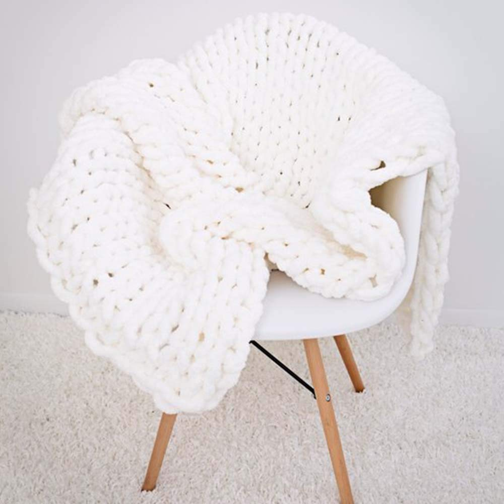 Chunky Knit Blanket,Chunky Chenille Blanket,Cream White Chunky Chenille Crochet Blanket,Hand Knit Throw Wedding Shower Gift,79x79in by FAU-Hand Knit Blanket (Image #2)