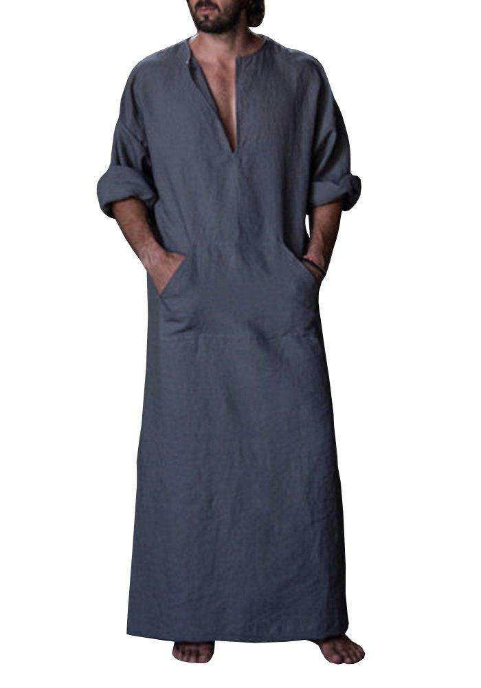 Karlywindow Men's Abaya Muslim Thobe Thoub Abaya Robe Islamic Arab Kaftan (Medium, Dark Grey)