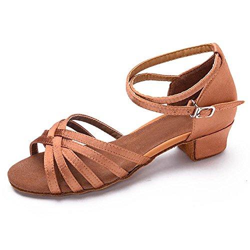 mesdames latine enfants chaussures 2 YFF filles danse beige de les femmes enfants Bal talons Tango danse pour bas qEwaPX