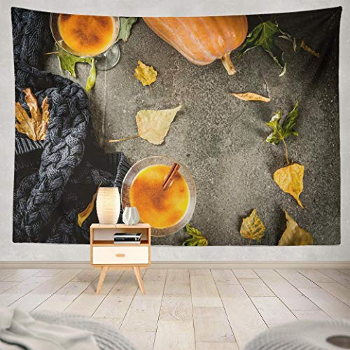 Hdmly Thanksgiving Tapestry Wall Hanging Decor, Decorative Wall Tapestry Fall and Winter Drinks Thanksgiving Halloween Pumpkin Pie 60