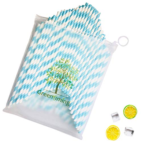 Baby Blue Paper Drinking Straws - Light Blue Swirl Stripes Paper Straws for Sailors, 100 pcs Straw wth Travel Zipper Bag case, Easy to - Swirl Zipper