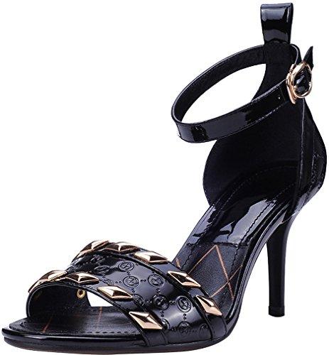 Calaier Femmes Salah Open-toe 8.5cm Stiletto Boucle Sandales Chaussures Noir