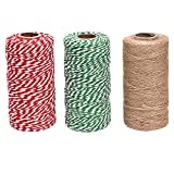 Sunmns 3 Rolls Christmas Cotton Twine and Natural Jute String Rope for Gift Wrapping Tag Ornaments