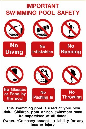 Amazon.com: Swimming Pool Sign Important Swimming Pool Safety ...