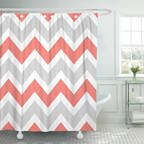 Accrocn Waterproof Shower Curtain Curtains Fabric Peach Coral Gray White Chevron Zigzag Pattern 60x72 Inches Decorative Bathroom Odorless Eco Friendly]()