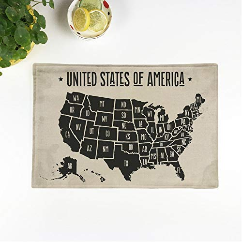 Awowee Set of 4 Placemats Map of United States America Names Black and White Non-Slip Doily Place Mat for Dining Kitchen Table