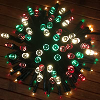 DeVida Red Green White Solar Christmas Lights String ~ Outdoor Waterproof ~ Extra Long 100 Mini LED Multi Color Set With Accessories ~ For Tree, Yard, Patio, Home Exterior ~ No Outlet Needed