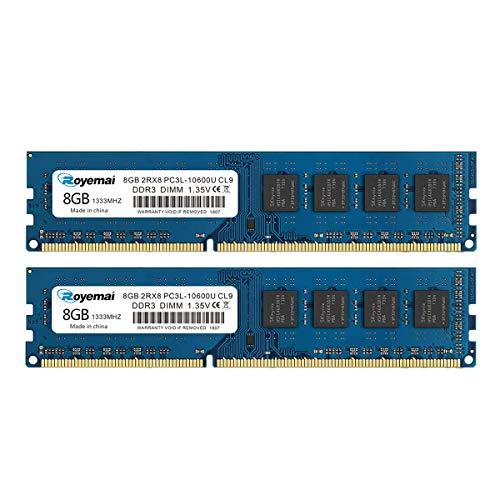 ROYEMAI 16GB Kit (2X8GB) DDR3 RAM, DDR3 1333 8GB PC3L-10600U DDR3L Dimm 2Rx8 1.35V/1.5V CL9 Notebook RAM Memory for Desktop Computer