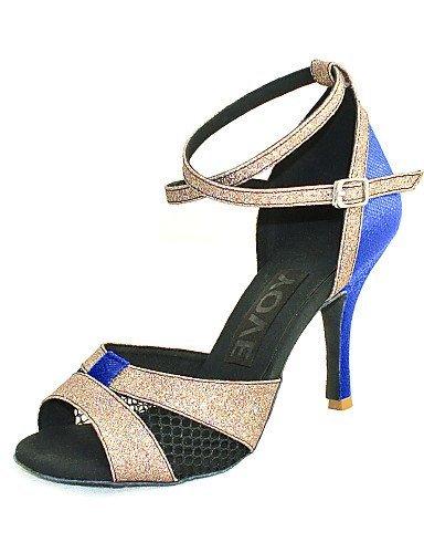 ShangYi Customizable Women's Dance Shoes Latin/Salsa Leatherette Customized Heel Black/Blue/Red/Silver/Gold Blue Pa8rq