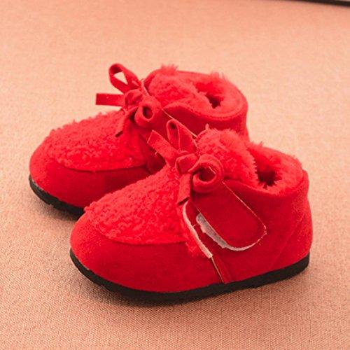 Snow Boots Schuhe Jamicy® Kinder Neugeborenen Feste Leder Klett Cartoon Woolen Warme Baby Mädchen Schuhe Turnschuhe Stiefel Rot