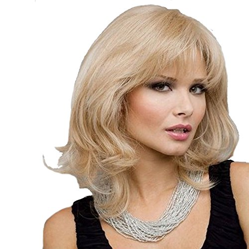RightOn High Quality Rose Net Women Girls Sexy Fashion Middle Wavy Curly Wig With Free Wig Cap and Comb (Light (Sexy Wig)