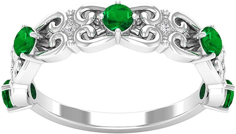 Anillo de boda con diseño de esmeralda certificado SGL de 0,6 ct, clásico, para mujer, grabado en forma de corazón, único diamante de oro, anillo de eternidad, piedras preciosas para novia.
