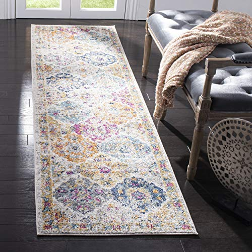 Safavieh Madison Collection MAD611B Cream and Multicolored Bohemian Chic Distressed Runner (2'3