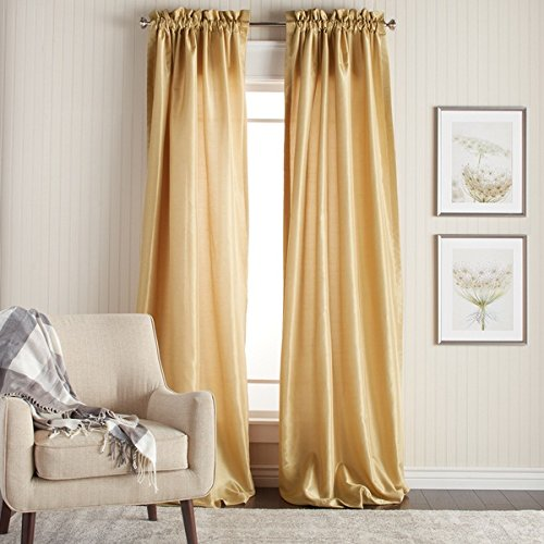 2 Piece 96 Inch Gold Color Faux Silk Curtains Panel Pair Set, Golden Solid Color Window Rod Pock ...
