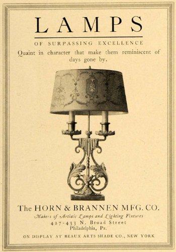 1920 Ad Horn Brannen Quaint Artistic Lamps Lighting NY - Original Print Ad from PeriodPaper LLC-Collectible Original Print Archive