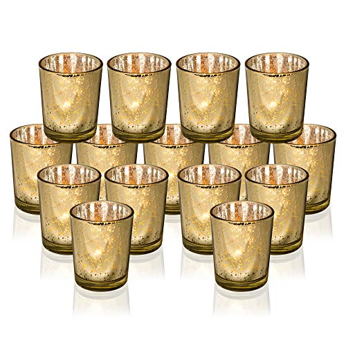 Rixon Grove Stunning Gold Mercury Votive Candle Holders - Set of 15 Glass Votives Adds The Perfect Touch Elegance to Your Wedding Special Occasion