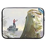 Fishing Master 13-15 Inch Laptop Sleeve Bag Portable Dual Zipper Case Cover Pouch Holder Pocket Tablet Bag,Water Resistant,Black
