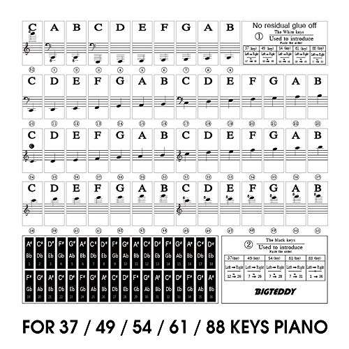 Great Deal! BIGTEDDY - Piano Stickers for 37/49/54/61/88 Key Keyboards - Tranparent Removable Labels...