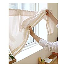 Katoot@ Cotton Handmade Lace Cafe Curtain Kitchen Curtain Valances Window Curtain with Simple Design. Beige