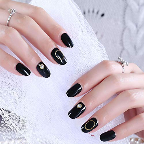 2018 Round Head Nails - 2018 new products round head patch fake nails bean paste hollow circle gold beads nail art 24 pieces AL91-Bean paste hollow circle AL91 glue section