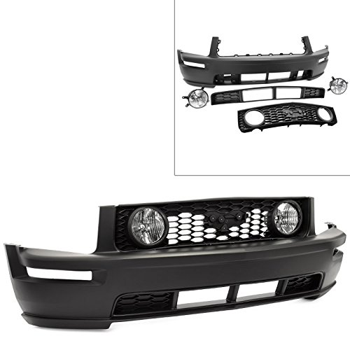 GT Conversion for 05-09 Ford Mustang Front Bumper Fog Lamp With Lower Grille