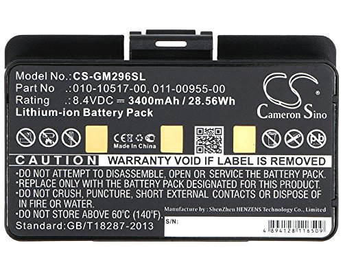 010-10517-00 011-00955-00 Battery - Replacement for Garmin GPSMAP 276 ,276c ,296 ,396 ,376 ,376C ,378 ,496 ,495 ,478 ,478 ,EGM478 3580100054300 100054300 GPS Navigator Batteries (3400mAh,8.4V,Li-ion) by Cameron Sino